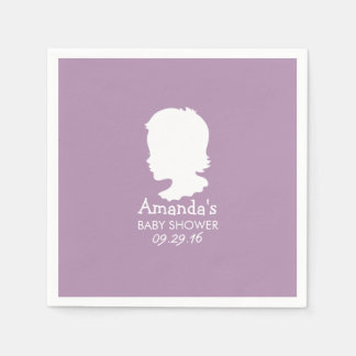 Noble Silhouette-Baby-Mädchen-violette Baby-Dusche Papierserviette