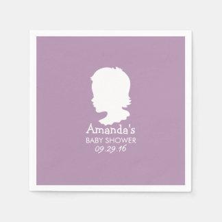 Noble Silhouette-Baby-Mädchen-violette Baby-Dusche Servietten