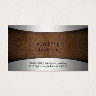 Noble Stahl-u. Leder-Schmuck-Visitenkarte Visitenkarte