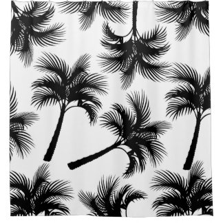 Noble tropische schwarze Palmen u. Weiß Duschvorhang