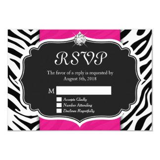 Noble Zebra-Druck-heißes Rosa-Diamant UAWG Karte 8,9 X 12,7 Cm Einladungskarte