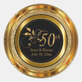 Nobler 50. goldener Hochzeitstag Runder Aufkleber