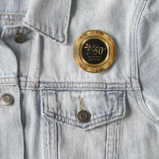 Nobler 50. goldener Hochzeitstag Runder Button 5,7 Cm