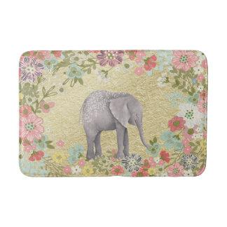 Nobler Aquarell-Elefant-Blumenrahmen-Goldfolie Badematten