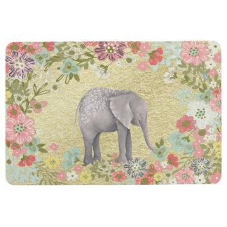 Nobler Aquarell-Elefant-Blumenrahmen-Goldfolie Bodenmatte