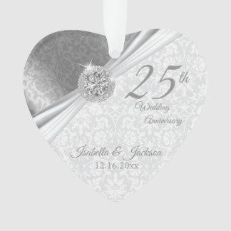Nobler Damast - 25. silberner Hochzeitstag Ornament