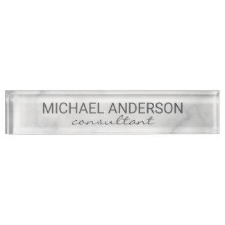 Nobler eleganter weißer Marmor Namensplakette