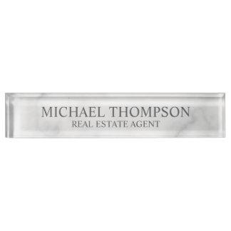 Nobler eleganter weißer Marmor Schreibtischplakette