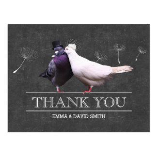 Nobler Tafel-Herr und Frau Birds Thank You Postkarte