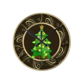 Nobler Weihnachtsbaum mit Licht-Uhr Runde Wanduhr