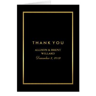 Classy Foil Gold Thank You Card - Black
