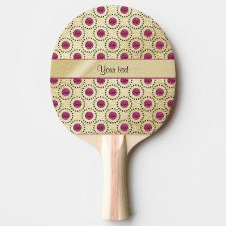 Nobles Gold mit rosa Glitter-Punkten Tischtennis Schläger
