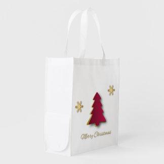 Nobles Goldroter Weihnachtsbaum - Wiederverwendbare Einkaufstasche