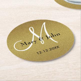 Nobles Hochzeits-Monogramm-Glitter-Gold Kartonuntersetzer Rund
