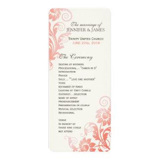 Nobles Ombre korallenrotes Hochzeits-Programm 10,2 X 23,5 Cm Einladungskarte