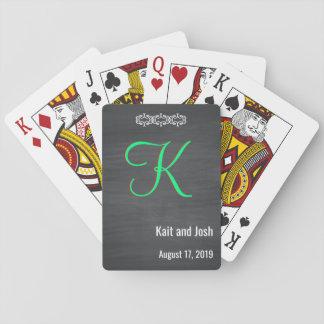 Nobles rustikales schwarzes Kreide-Tafel-Monogramm Spielkarten
