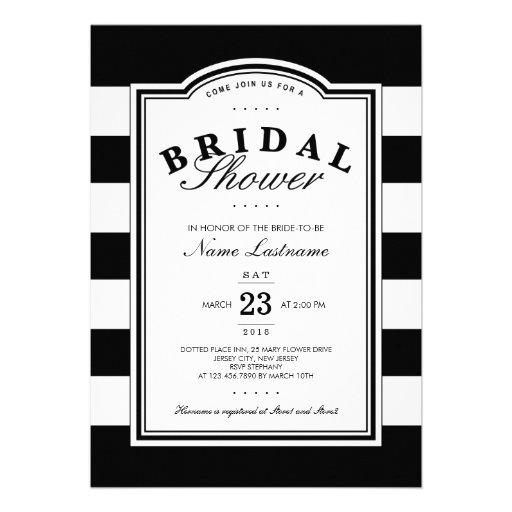 Nobles Schwarz-weißes gestreiftes Brautparty laden Ankündigung