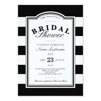Nobles Schwarz-weißes gestreiftes Brautparty laden 12,7 X 17,8 Cm Einladungskarte