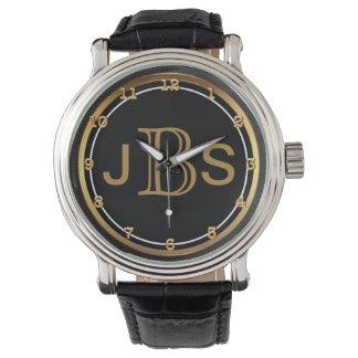 Nobles schwarzes männliches Monogramm der Männer Uhr