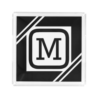 Nobles schwarzes u. weißes einfaches Quadrat Acryl Tablett