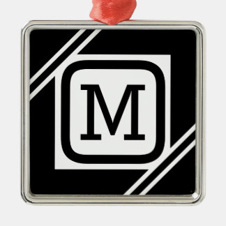 Nobles schwarzes u. weißes einfaches Quadrat Silbernes Ornament