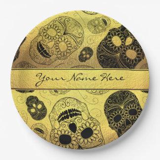 Nobles stilvolles Gold u. schwarze Zuckerschädel Pappteller 22,9 Cm