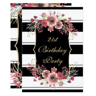 Nobles Streifen-BlumenAquarell-21. Geburtstag Karte