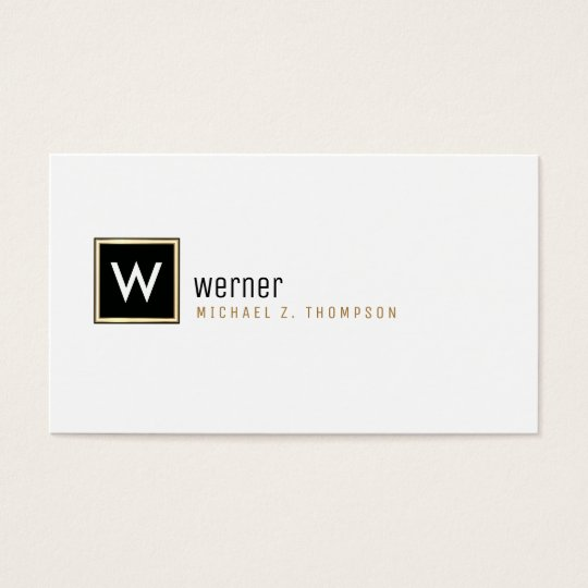 nobles Unternehmensmonogramm auf beruflichem Weiß Visitenkarten