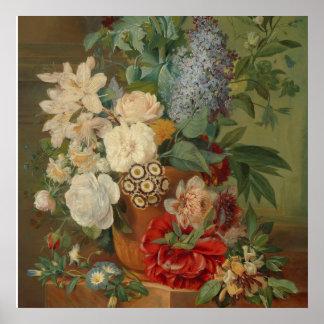 Noch Leben mit Blumen in einem Terrakotta-Vase Poster
