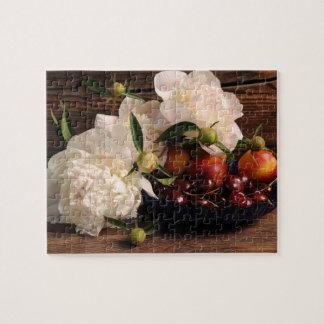 Noch Leben mit Blumen und Frucht Puzzle