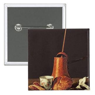 Noch Leben mit einem trinkenden Schokoladen-Set, 1 Quadratischer Button 5,1 Cm