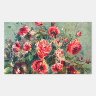 Noch Leben-Rosen von Vargemont durch Claude Monet Rechrteckaufkleber