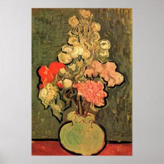 Noch Leben-Vase mit Rosen-Malven durch Van Gogh Poster