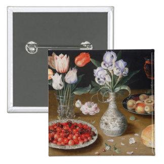Noch Lilien, Tulpen, Kirschen und Erdbeeren Quadratischer Button 5,1 Cm