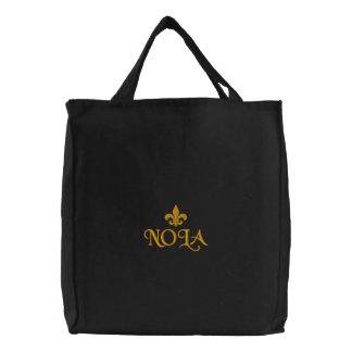 NOLA-Lilien-Emblem Bestickte Tragetasche