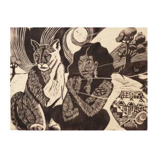 Nomade-und wilde Katzen-ethnische hölzerne Holzdruck