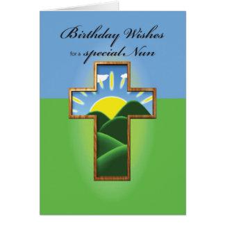 Nonne, Geburtstags-Kreuz Karte