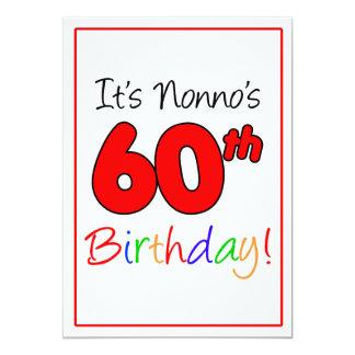 Nonnos 60. Meilenstein-Geburtstags-Party-Feier 12,7 X 17,8 Cm Einladungskarte