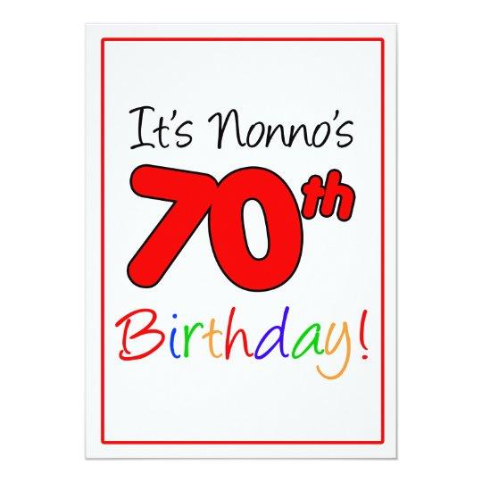 Nonnos 70. Meilenstein-Geburtstags-Party-Feier 12,7 X 17,8 Cm Einladungskarte