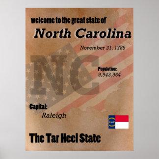 Nord-Carolina der Teer-Fersen-Staats-Klassiker Poster