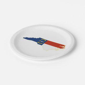 Nord-CarolinaStaats-Flaggen-Karte Pappteller