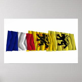 Nord, Nord-Pas-de-Calais- u. Frankreich-Flaggen Plakate