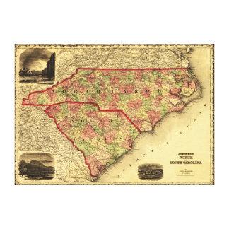 Nord und Süd CarolinaPanoramic Karte Galerie Gefaltete Leinwand