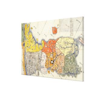 Nord und Süd KoreaPanoramic Karte Galerie Faltleinwand
