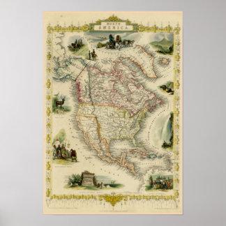 Nordamerika-Bild-Karte Poster