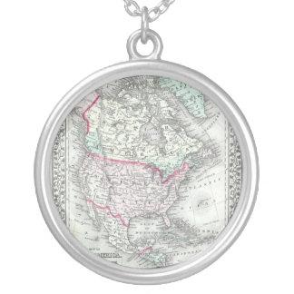 Nordamerika und die antike Karte Vereinigter Halskette Mit Rundem Anhänger