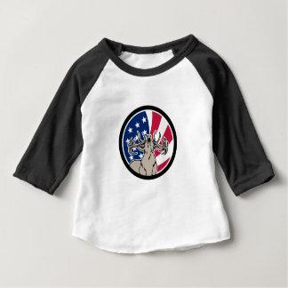 Nordamerikanische Rotwild USA-Flaggen-Ikone Baby T-shirt