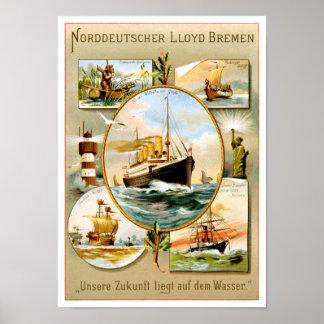 Norddeutscher Lloyd Bremen Vintages Reise-Plakat Poster