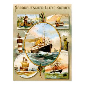 Norddeutscher Lloyd Bremen Vintages Reise-Plakat Postkarte