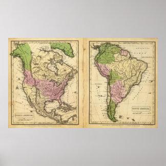 Norden u. Südamerika Poster